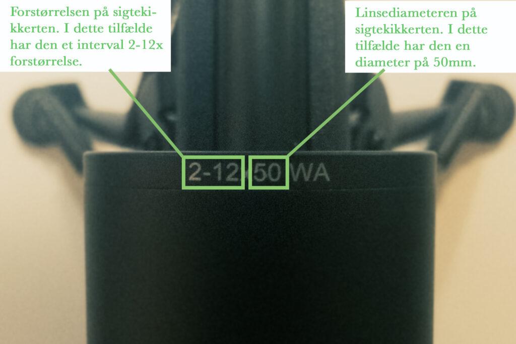 Sigtekikkert riffelkikkert størrelse forstørrelse linsediameter